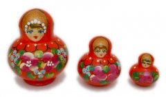 Red with Flowers 3 pc Matryoshka
