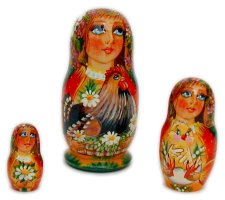 Maiden with Hen 3pc nesting dolls
