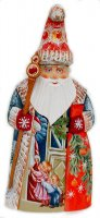 Hand carved Santa with Kids