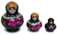Black with flowers 3 pc babushka dolls
